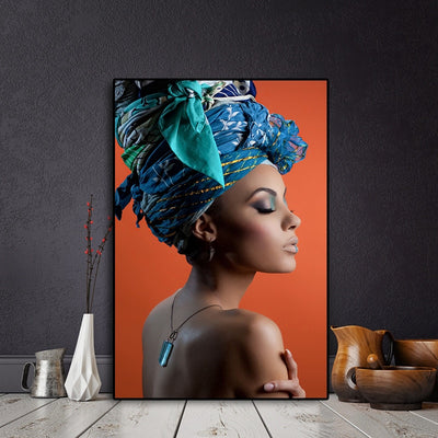 African Nude Woman Headband Portrait Nordic Canvas