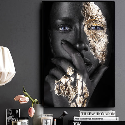 African American Woman in Gold Black Wall Art For Sales - Minimalist Nordic