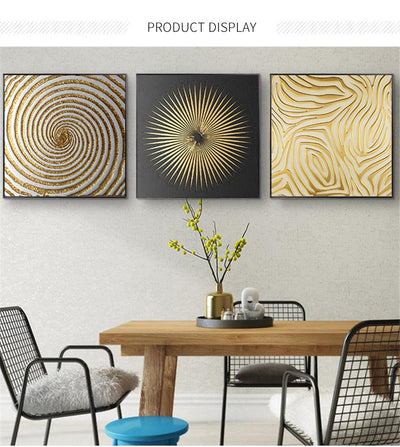 Abstract Gold and Black Retro Geometry Prints Canvas Wall Art - Minimalist Nordic