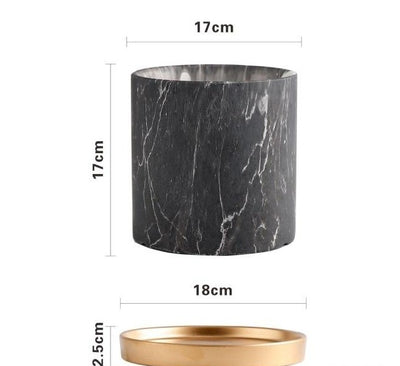 Plant Pots With Black Marble Pattern | Flower Pots - Minimalist Nordic