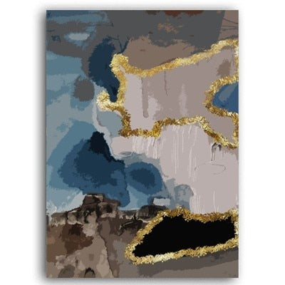 Modern Trendy Abstract Blue Gold Marble Poster