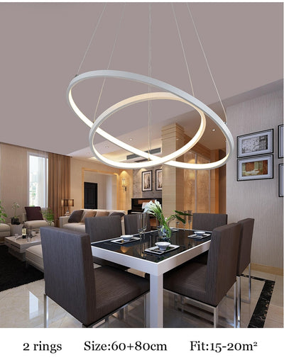 Circle Led Gold Rings Pendant Lamp - Minimalist Nordic