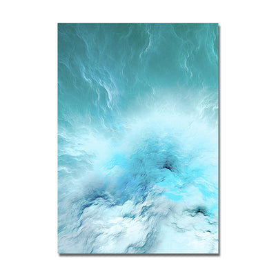 Modern Nordic Abstract Blue Wave Marble Canvas Wall Art Posters and Prints - Minimalist Nordic