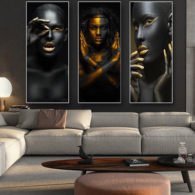 African American Canvas Prints 3 Panels For Wall Decor - Minimalist Nordic