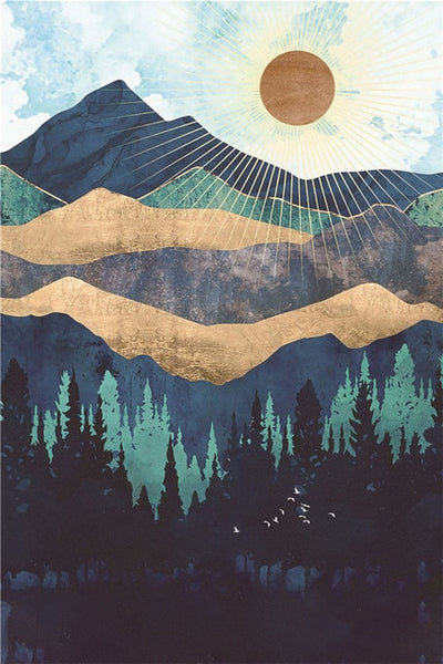 Modern Mountain Sunrise Canvas Painting