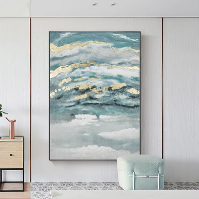 Gold Abstract Modern Oil Painting Wall Art - Minimalist Nordic