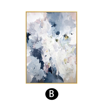 Abstract Pink Floral Hand-painted Oil Painting - Minimalist Nordic