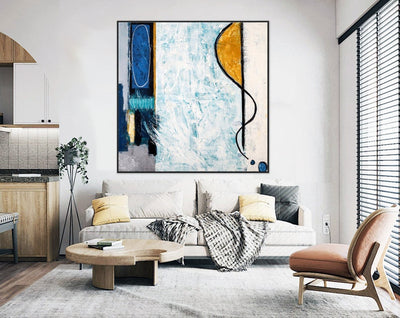 Large Yellow And Blue Painting Wall Art - Minimalist Nordic