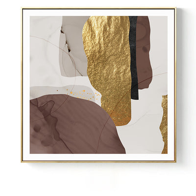 Abstract Marble Brown Gold Foil Canvas Print Wall Art - Minimalist Nordic