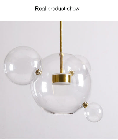 Living Room Chandelier Warm Glass Bubble Lamp
