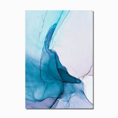 Abstract Nordic Watercolour Blue Canvas Art - Minimalist Nordic
