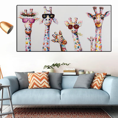 Colorful Oil Animal Giraffe Canvas Printings wall Art - Minimalist Nordic