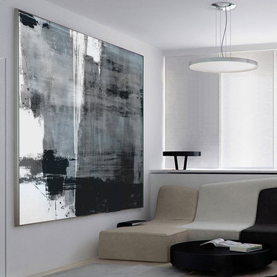 Oversized Minimalist Canvas Black White Painting - Minimalist Nordic