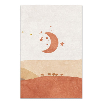 Sun And Moon Scene Boho Cactus Wall Art Picture