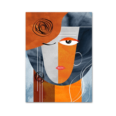 Modern Abstract Faces Geometric Canvas