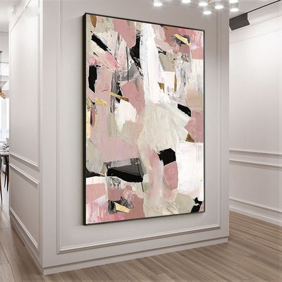 Light Pink Extravagant Black & White Wall Picture - Minimalist Nordic