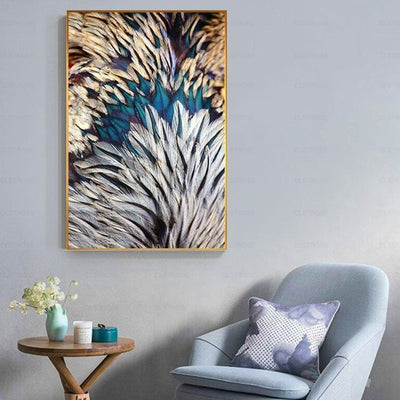 Gold Green Pink Feathers Wall Art Canvas Pictures