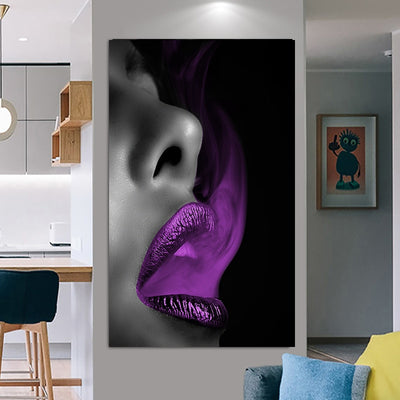 Black and White Lip Cuadros Canvas