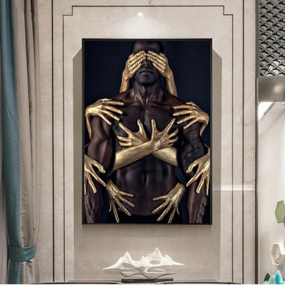 African Art Black Gold Nude Canvas