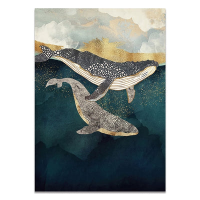 Abstract Whale Cloud Sea Mountain Wall Art