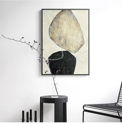 Handmade Abstract Painting On Canvas Art - Minimalist Nordic