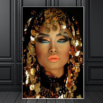 Bling Gold Makeup Woman Canvas