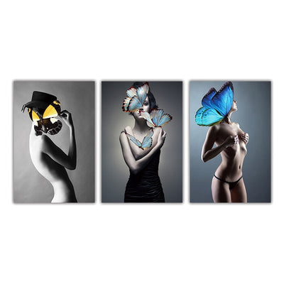 Butterfly Masked Nude Girl Art Woman Abstract Canvas