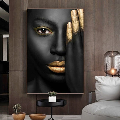 Black African Nude Blindfold Woman on Canvas