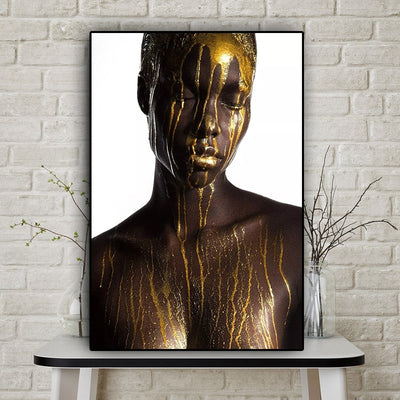 Nude African Black and Gold Woman Oil Painting on Canvas