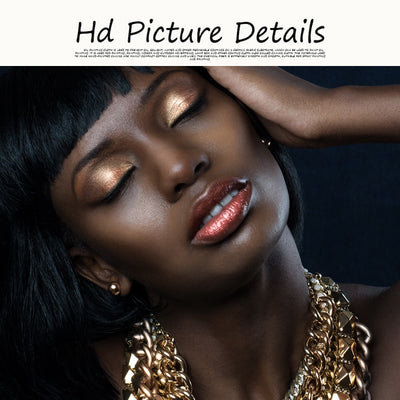 African Woman Gold Girl Necklace Portrait Canvas