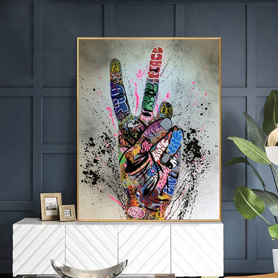 MUTU Graffiti Victory Picture Wall Art Poster And Print Cartoon Canvas Painting For Living Room Home Decoration No Frame - Minimalist Nordic