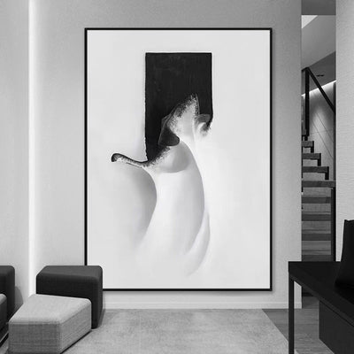 Black And White Handmade Canvas Oil Painting - Minimalist Nordic