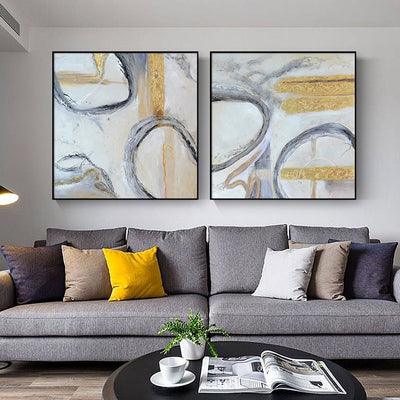 Nordic Style hand-painted Abstract Oil Painting Decorative Painting The Living Room Painted Backdrop Combination Of Luxury Resta