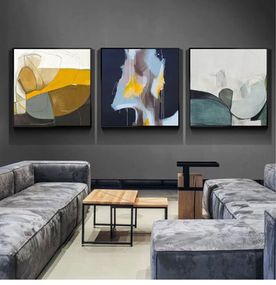Nordic Triple hand-painted Abstract Oil Painting For Living Room Decorative Painting Home Decoration Paintings Wall Art - Minimalist Nordic