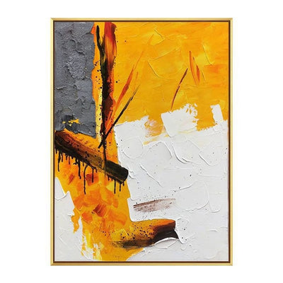 Yellow Palette Grey White Textured Painting Wall Art - Minimalist Nordic