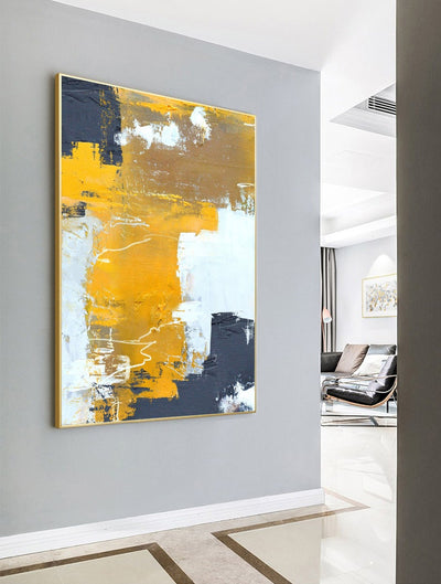 Orange Yellow Abstract Painting,Abstract Painting Canvas,Browm Abstract Painting,White Abstract Painting,Modern Living Room Art - Minimalist Nordic