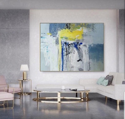Yellow Blue Gray Abstract Painting Art - Minimalist Nordic