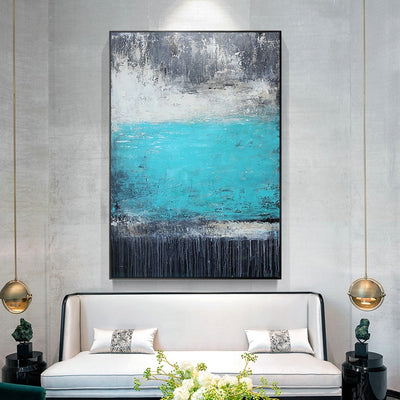 Pure hand-painted Oil Flow E Lake Restaurant Hall Decorative Painting Abstract Modern Light Nordic Style Luxury Custom Mural Pai - Minimalist Nordic
