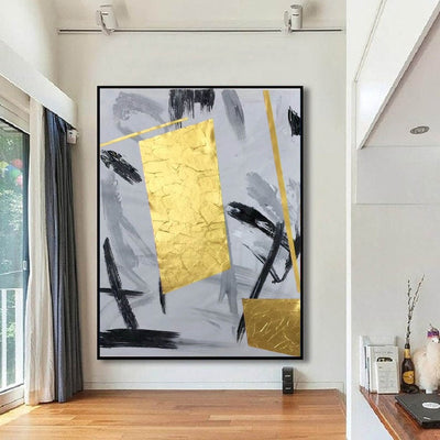 Gold Colorful Handmade Abstract Wall Art - Minimalist Nordic