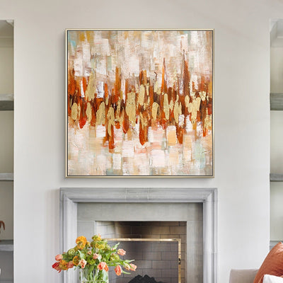 Beautiful Hand-painted Gold Leaf Light Wall Art - Minimalist Nordic