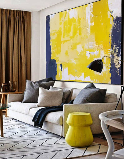 Yellow Abstract Wall Art White Abstract Painting Blue Abstract Art Large Wall Art Canvas Painting Canvas Painting Living Room - Minimalist Nordic