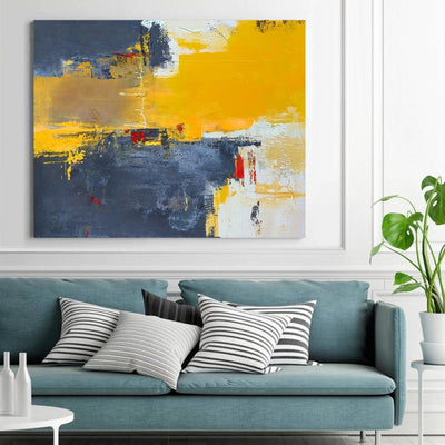 Abstract Yellow Blue Abstract Painting - Minimalist Nordic