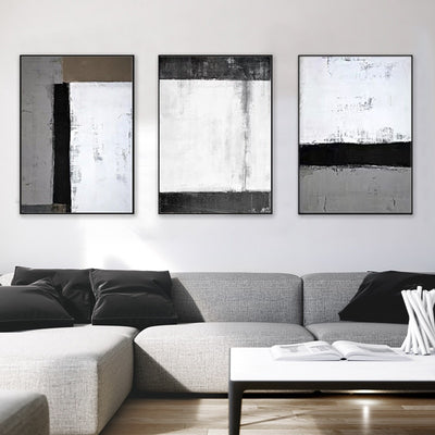 Black And White Gray Triple Living Room Sofa Backdrop Oil Painting - Minimalist Nordic