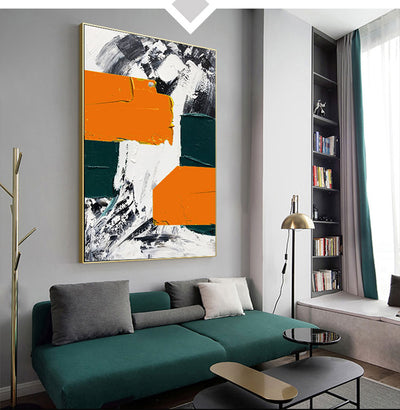 Modern Orange Porch Light Wall Art - Minimalist Nordic