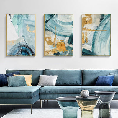 Golden Ring Light Luxury Hand-painted Oil Painting - Minimalist Nordic