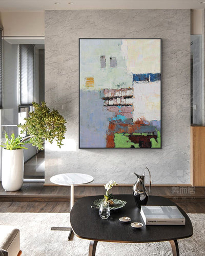 Simple Modern Abstract Oil Painting Dining Room Decorative Painting Aisle Significantly Hand-Painted Paintings Hotel Murals - Minimalist Nordic