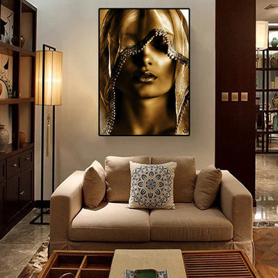 Golden Noble Veil Women Canvas