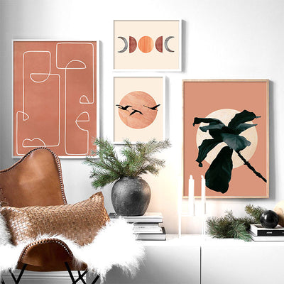 Abstract Sun and Moon Plant Orange Canvas Art Wall Painting Posters and Prints Nordic Wall Pictures for Living Room Home Decor