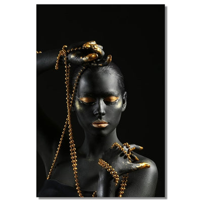 Black Golden Nude African Women Canvas