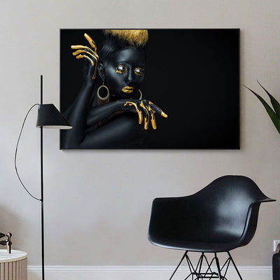 Gold Nude African Woman Oil Painting Canvas